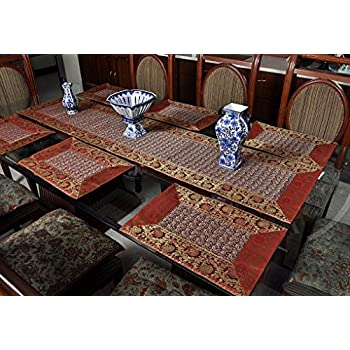 Charming Rajasthani Handmade Silk Table Runner With Table Mats Set Of 6