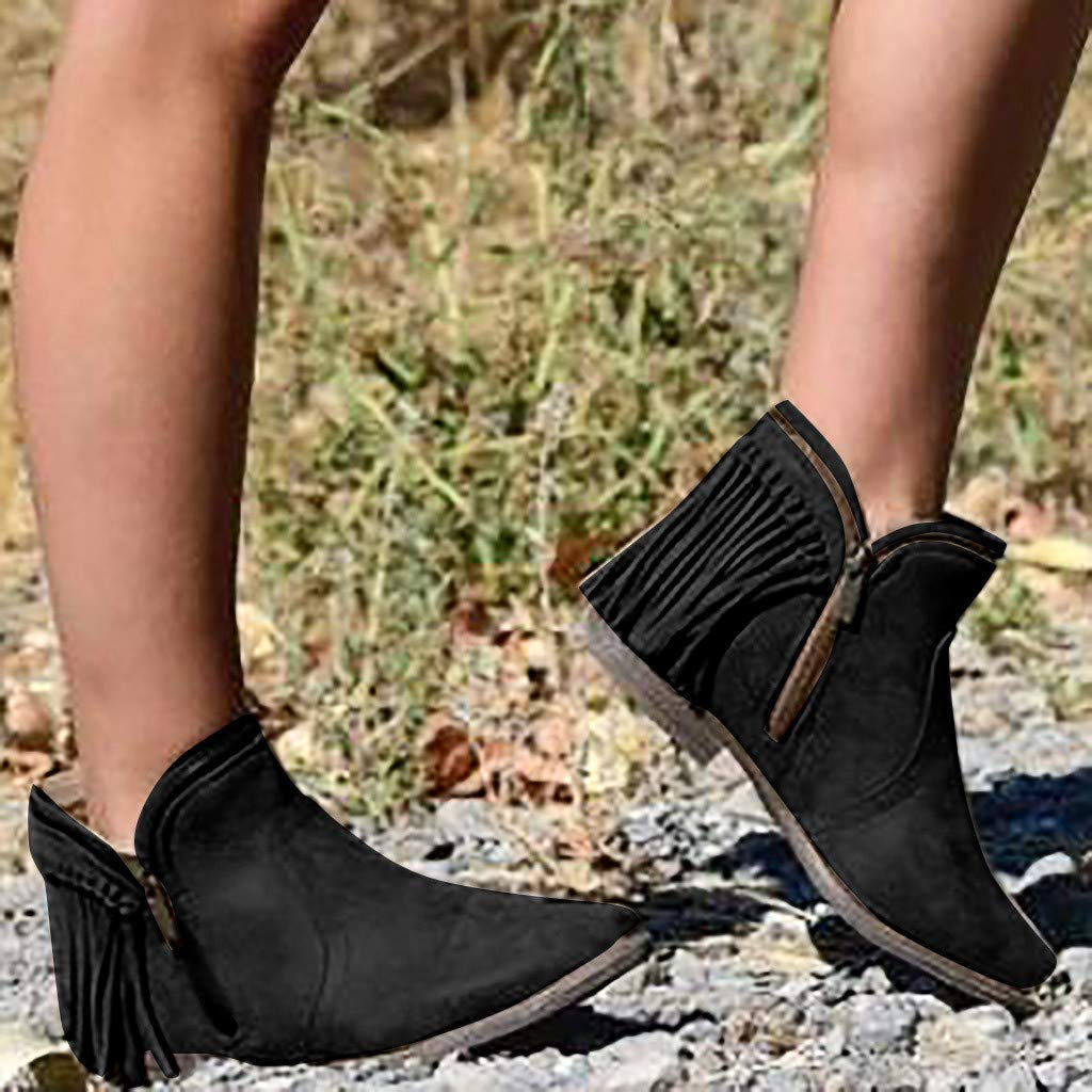 Chiccc Fashion Retro Womens Tassel Low-heele Zipper Non-Slip Roman Shoes Short Boots by Chiccc (Image #2)