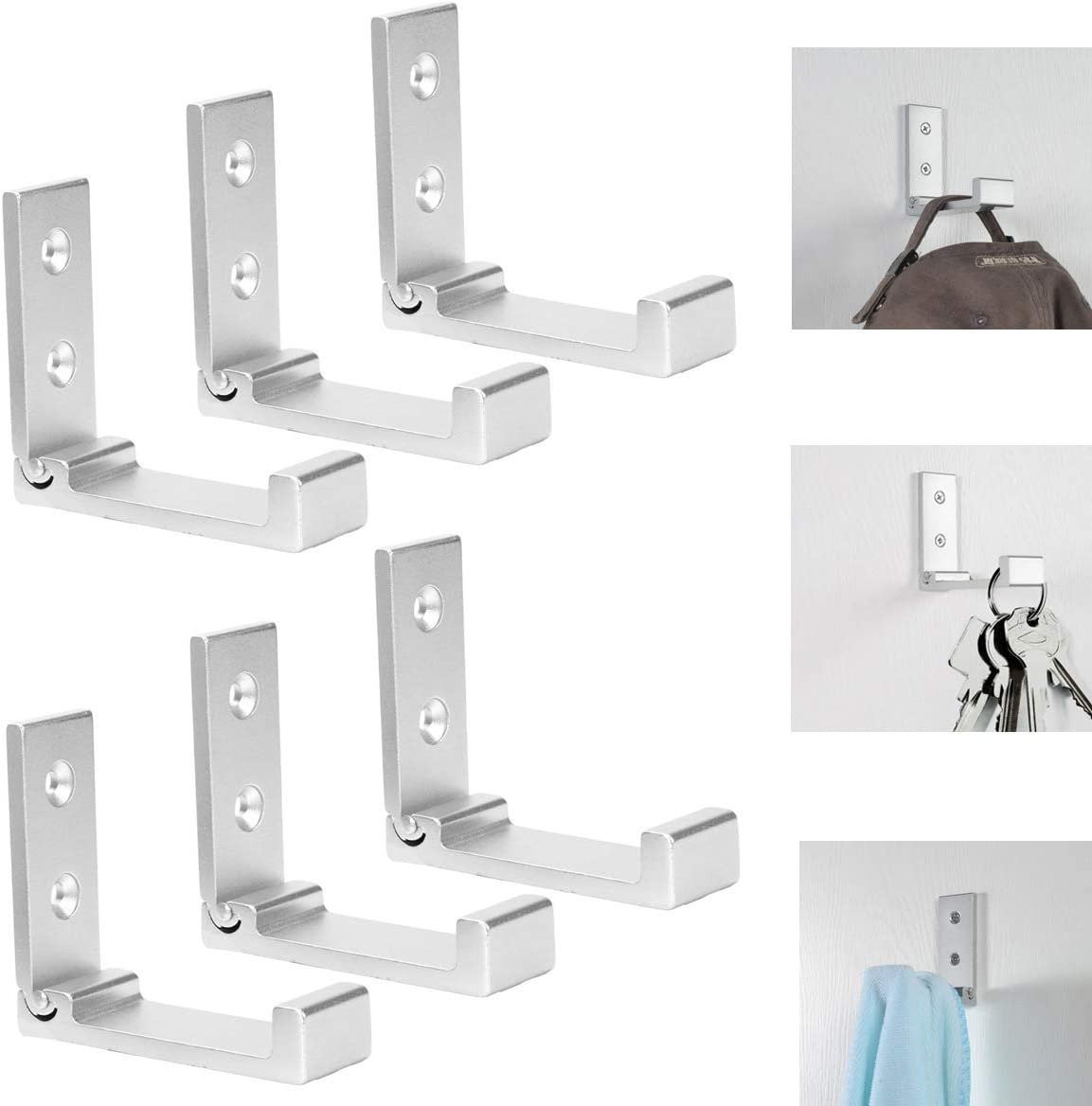 VinBee 6pcs 3 inch Aluminium Alloy Folding Clothes Hook, Coat Rack Single Hook for Bathroom Kitchen Living Room (Silver)