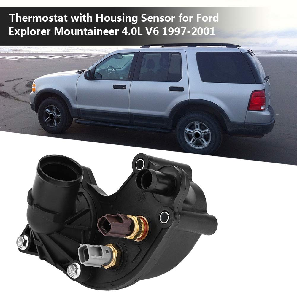 Suuonee Thermostatgeh/äuse YU3Z8A586AA Thermostat mit Geh/äusesensor f/ür Explorer Mountaineer 4.0L V6 1997-2001