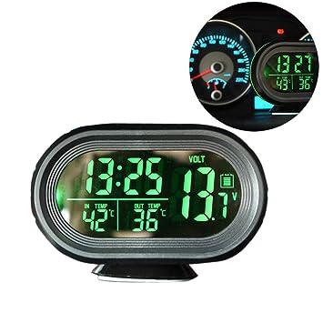 Reloj despertador digital con batería y monitor de voltaje para coche, pantalla LCD, termómetro de temperatura: Amazon.es: Bricolaje y herramientas