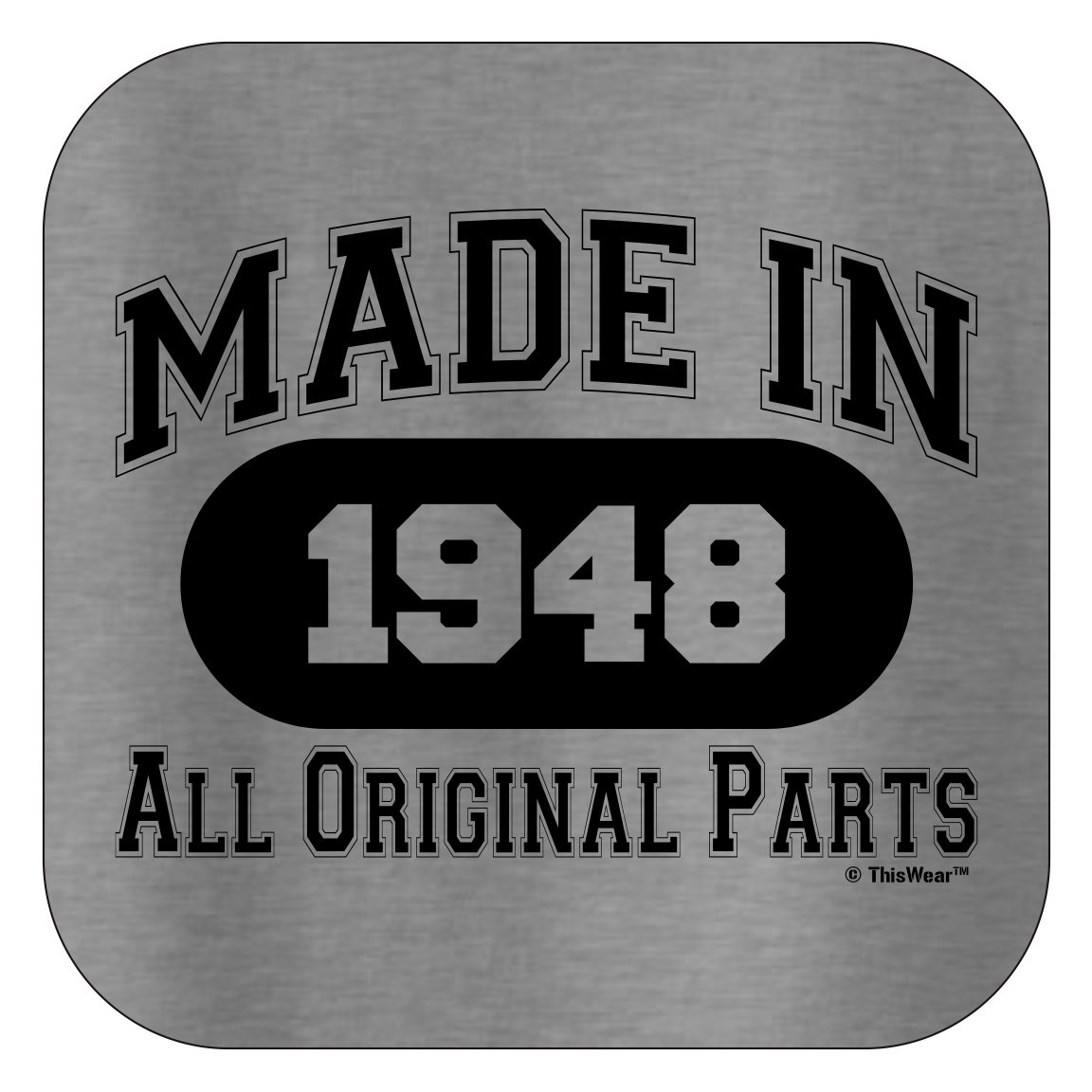 70th Birthday Gift Made 1948 All Original Parts T-Shirt XL Sport Grey by ThisWear (Image #3)