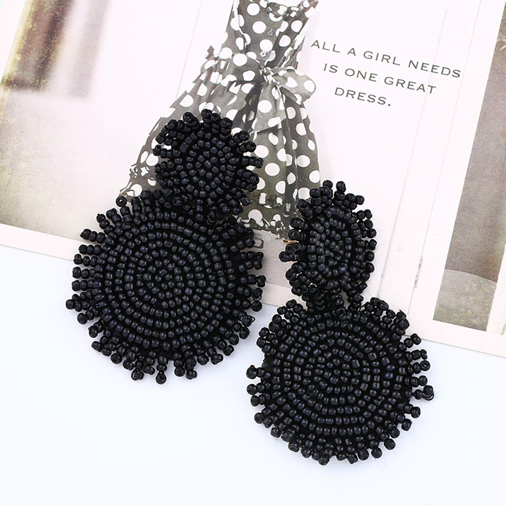 Fashion Earrings Bohemian Style Earrings with Exaggerated Large Pendant and Woven Beads Earrings
