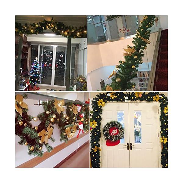 2.7m Ghirlanda di Natale con Pino e Frutti Rossi,Ghirlanda Porta d'ingresso di Natale con Luci a LED,Luminoso Decorazione Natale per Camino Scale Porta Esterno Alimentazione a Batteria (D'oro) 7 spesavip