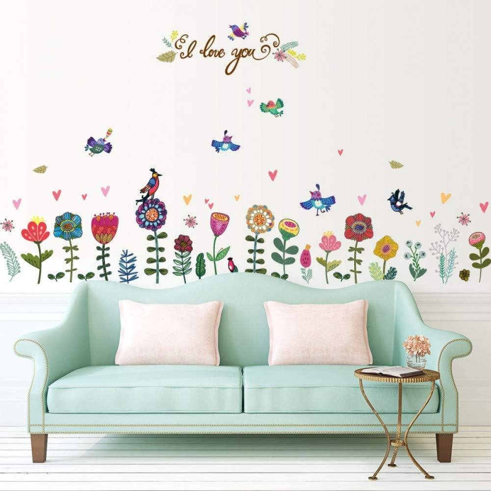 Flores Tropicales Pintadas Aves Zócalo Línea De Borde Armarios Frigoríficos Porche Dormitorio Tv Fondo Decoración Pegatinas De Pared