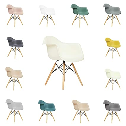 Superb Fusionwell Dining Plastic Armchair With Eiffel Retro Wooden Legs Contemporary Designer Office Kitchen Lounge Bedroom Chair Off White Pp Unemploymentrelief Wooden Chair Designs For Living Room Unemploymentrelieforg