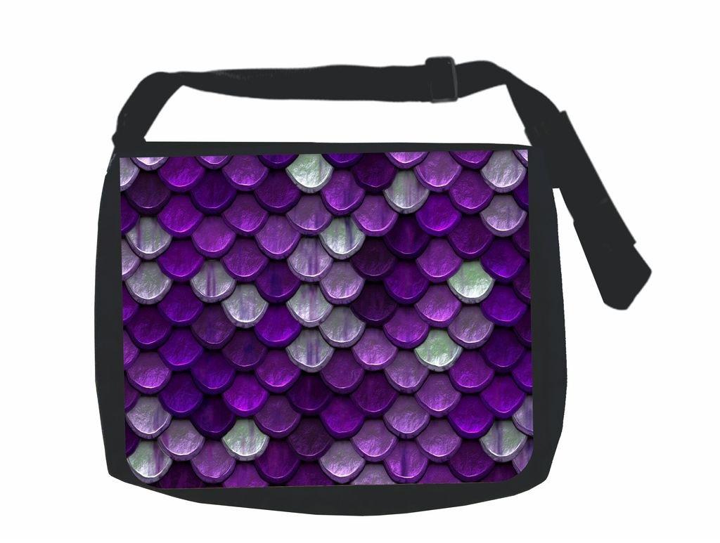 Purple Mermaid Scales Jacks Outlet Inc Flat Print Design School Messenger Bag and Pencil Case Set