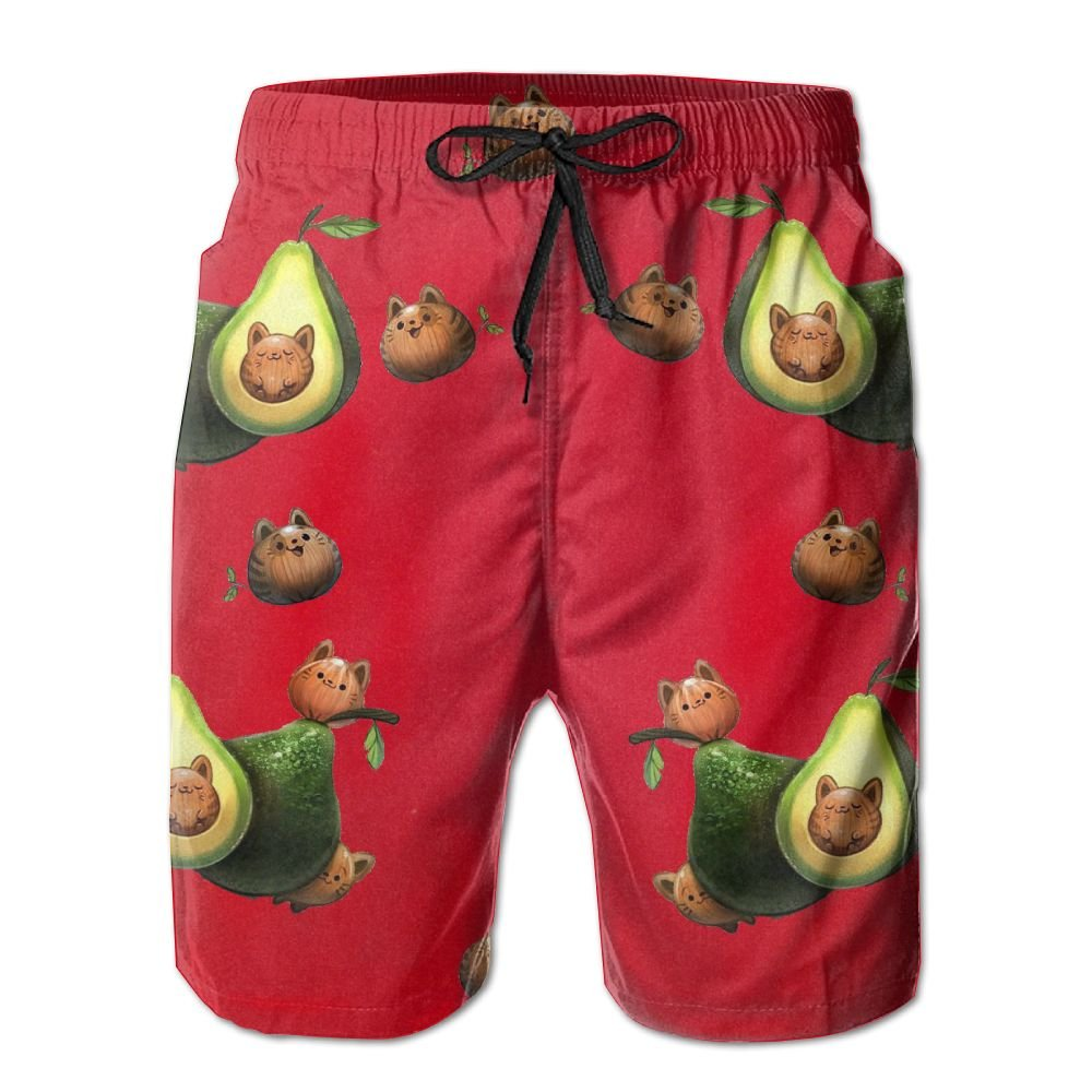 Avocado Cat Kitten Red Men Kid Male Summer Swimming Pockets Trunks Beachwear Asual Shorts Pants Mesh