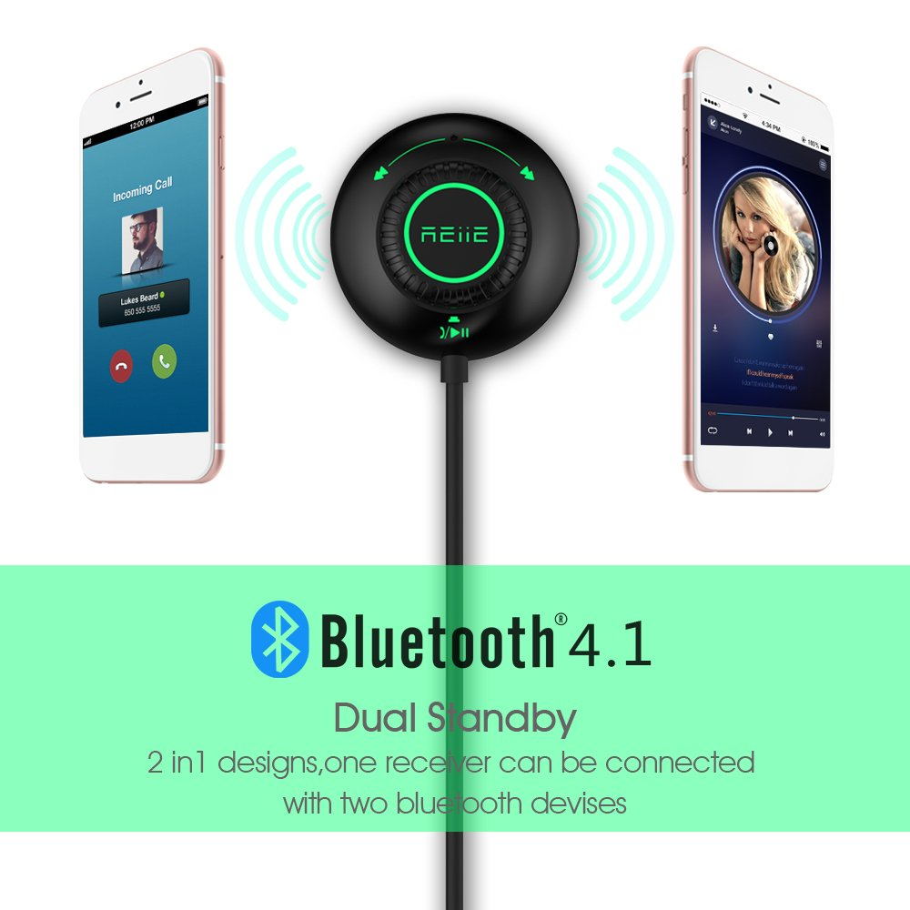 Magnetic Mounts REIIE Bluetooth 4.0 Car Kit with 3.5mm Aux-In Jack,Wireless Calling/&Music Streaming,Multi-Point Access,Siri//Voice Activation,Noise Cancelling,Dual USB Charger B05+ One Key Control