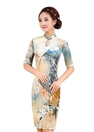 783b2dbb2 EXCELLANYARD Velvet Chinese Qipao Cheongsam Dresses for Women 4 Light Floral