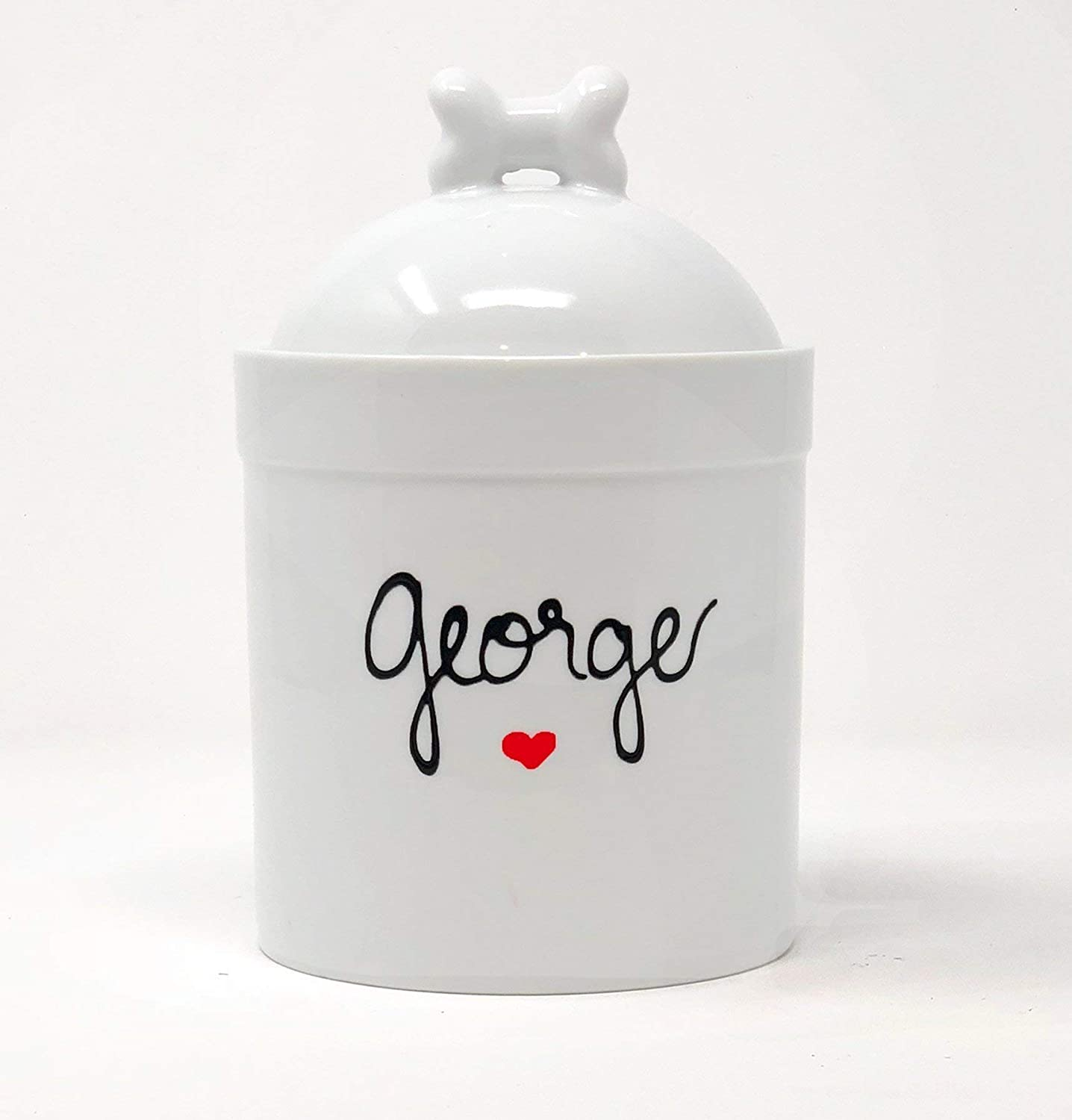 Small Pet Snack or Treats Jar - Ceramic Treats Jar With Airtight Lid - Personalized with Pets Name