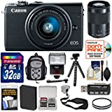 Canon EOS M100 Wi-Fi Digital ILC Camera & EF-M 15-45mm & 55-200mm is STM Lens (Black) 32GB Card + Battery + Backpack + Filters + Flex Tripod + Strap + Flash + Kit