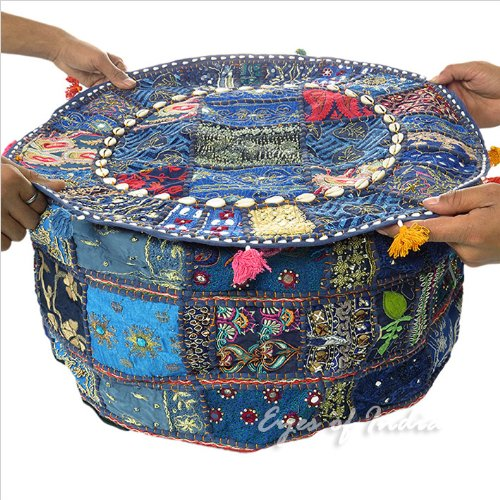22'' BLUE ROUND OTTOMAN POUF EMBROIDERED PATCHWORK FLORAL Indian Decorative by Mangal_Kalash