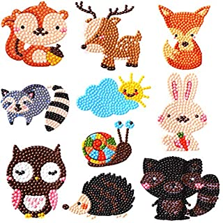 400 magic 5D DIY Diamond Painting Kits for Kids Art Mosaic Stickers by Numbers Kits- Animal Stickersr