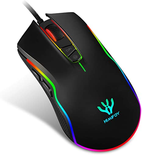 7 Buttons with Scroll Wheel 5000 DPI LED Wired Optical Gaming Mouse for Computer PC Laptop Color : Yellow