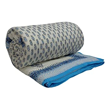 476f42748d Buy ANOKHI Double Size Quilt CHOTI NILI BOOTI Hand Printed Double Quilt  100% Soft Cotton Online at Low Prices in India - Amazon.in