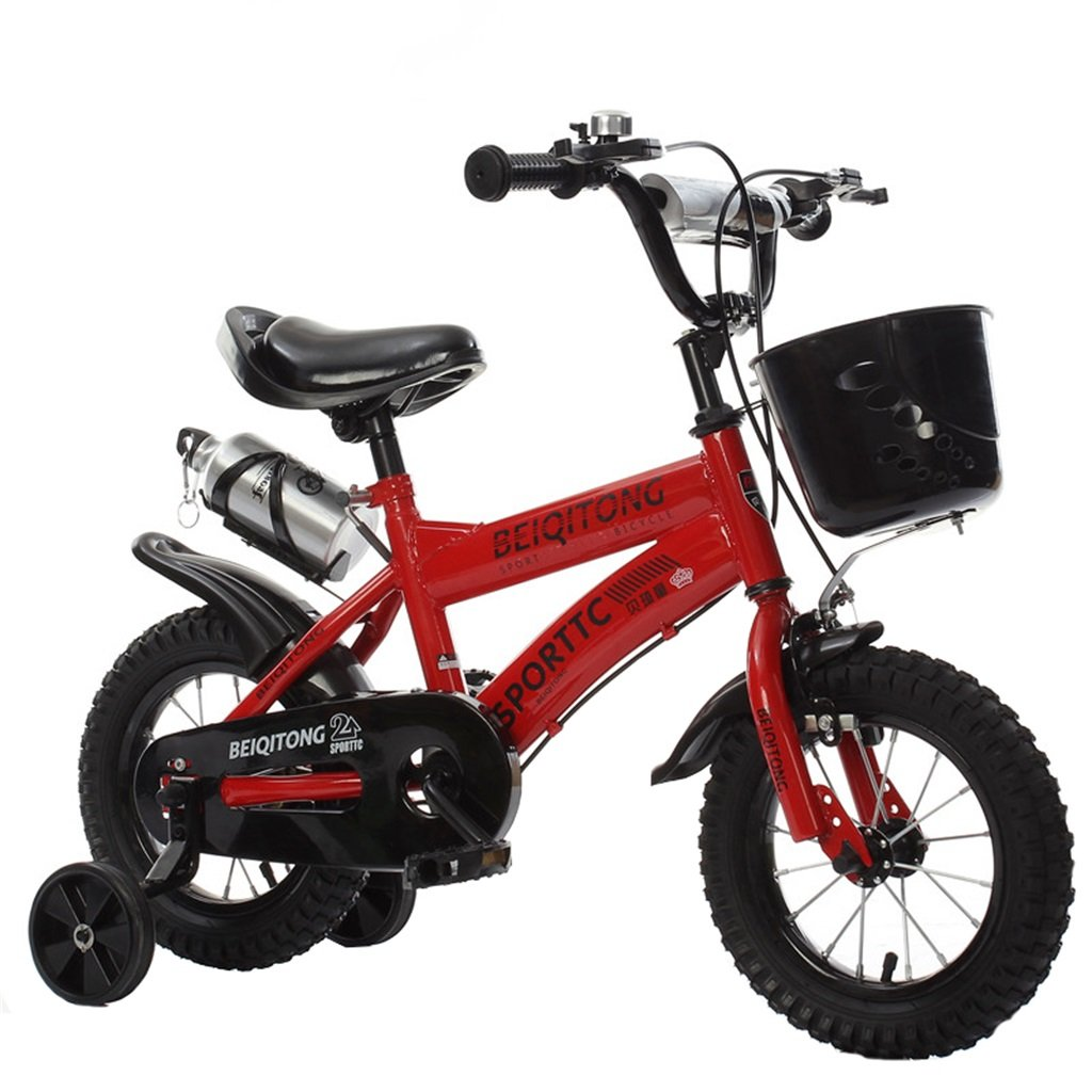 KANGR-子ども用自転車 子供用自転車適切な2-3-6-8男の子と女の子子供用玩具屋外用マウンテンバイクハンドルバーとサドルはトレーニングホイールで調節可能な高さにできますウォーターボトルとホルダー-12 / 14/16/18インチ ( 色 : 赤 , サイズ さいず : 18 inches ) B07BTWV188 18 inches|赤 赤 18 inches