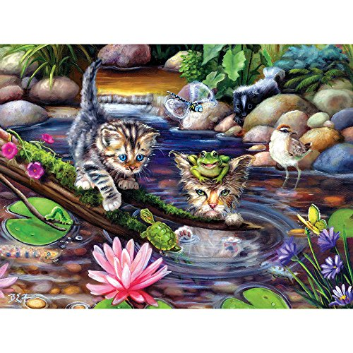 Bits and Pieces - 500 Piece Jigsaw Puzzle for Adults - On a Fishing Mission - 500 pc Kitten/Cat Jigsaw by Artist Brook Faulder