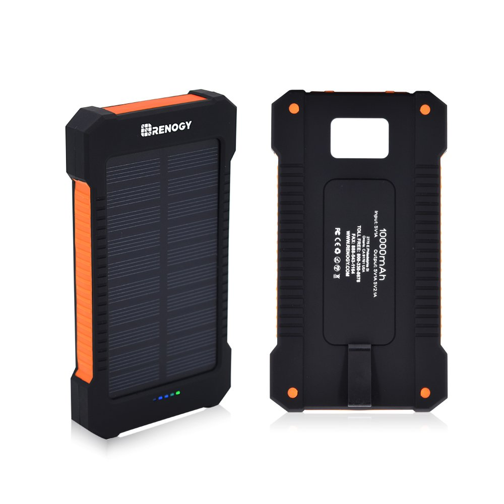 Renogy 10000mAh Power Bank Outdoor Water Resistant Dual USB Solar Panel Portable Battery Charger with Led Light for iPhone X 10 8 7 6S iPad Samsung