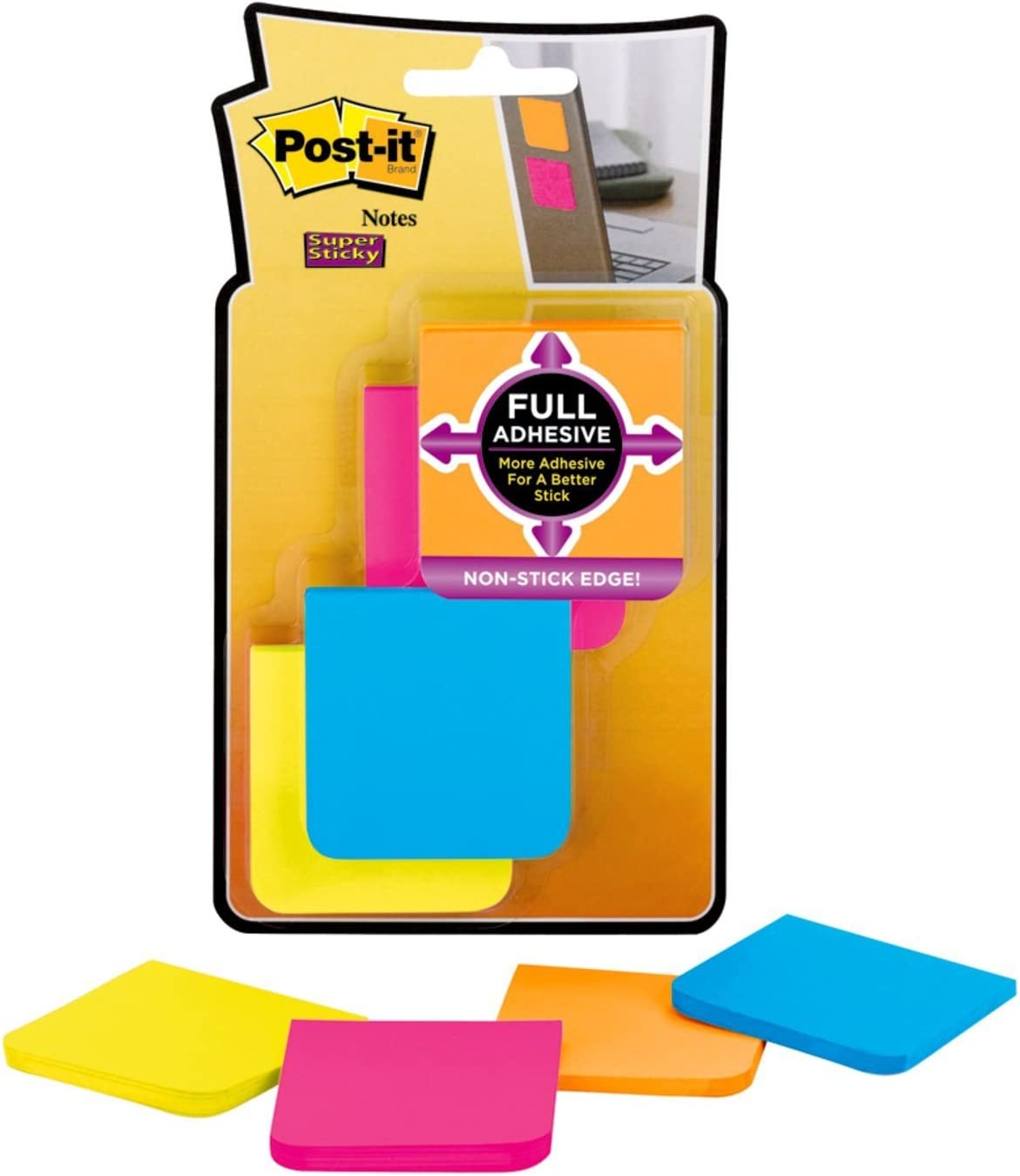 Pack of 8, 25 Notes Per Pad Assorted Colours Post-it Super Sticky 50.8mm x 50.8mm Full Adhesive Notes Pad