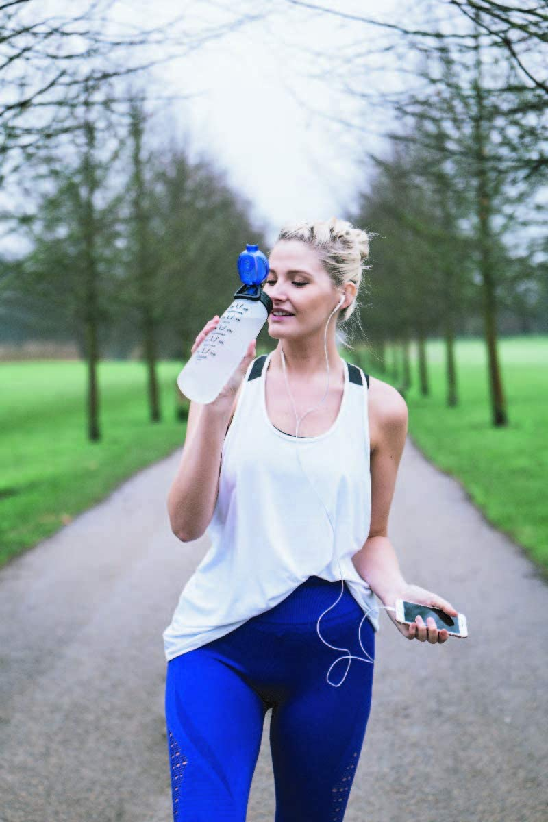 HYDRATEM8 Active 900ML Frosted Flip Top Sports Water Bottle With Times To Drink More Water Daily BPA Free Tritan Leak Proof