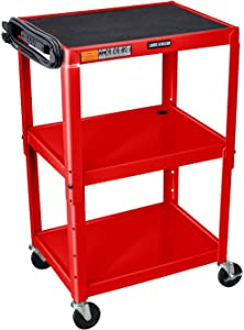Luxor Steel Adjustable-Height Audio Video Presentation Cart - Three Shelves