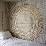 QuanCheng Popular Indian hippie mandala blue tapestry multi-purpose decorative wall hanging,Wall Tapestry (82W×59L, Gold)