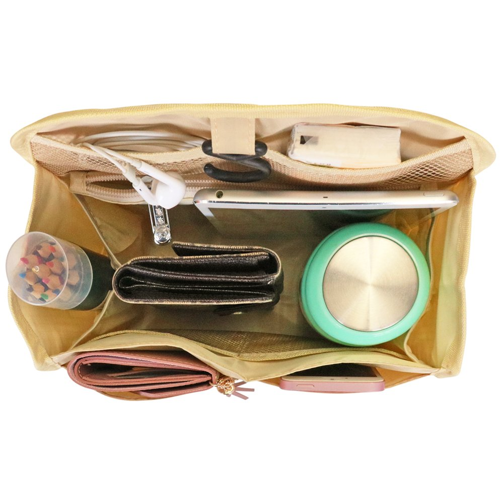 668865546650 VANCORE Backpack Organizer Insert Travel Nylon Hanging Purse Organizer For  Women Beige Small