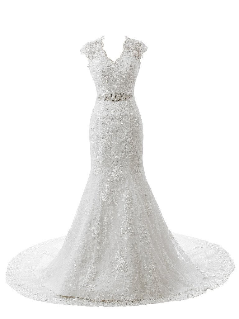 Ubridal Real Pictures Embroidery Lace Mermaid Court Wedding Dresses Bridal Gowns product image