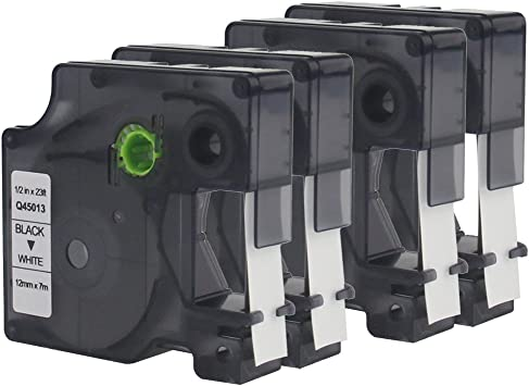 DYMO Standard D1 Labeling Tape Black print on White 1//2/'/' W x 23/' L 45013 4 PACK