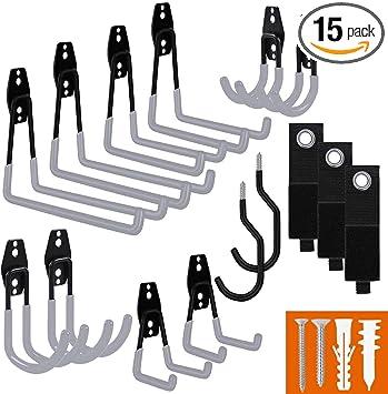 Screw Wall Brackets 3PCS Garage Storage Hooks Bike Tools Hooks Heavy Duty Hooks