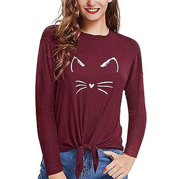 comprar oficial la mejor actitud recoger ZHRUI Mujeres Casual Cat Impreso Manga Larga Vendaje Tops ...