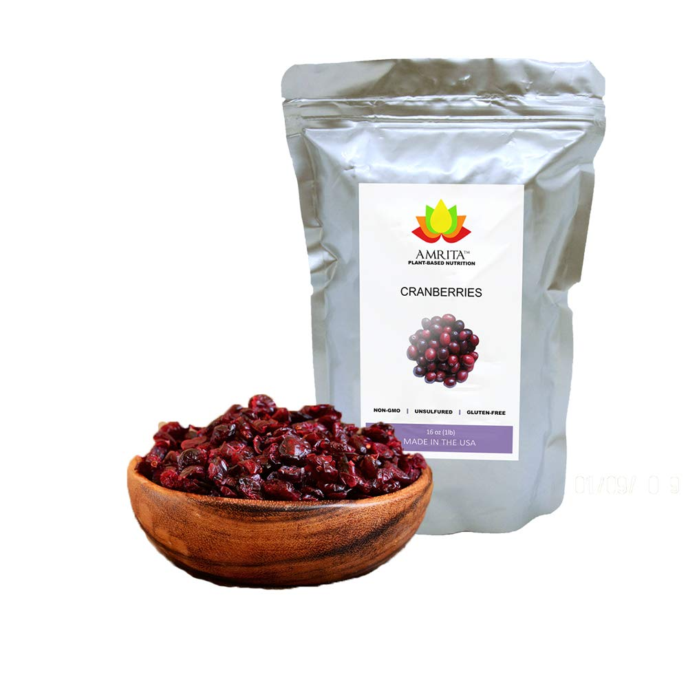 Amrita Dried Cranberries 1 lb with Apple Juice Unsulfured - Packed Fresh in Resealable Bulk Bags - Non GMO - Berries Fresh Whole Foods - Craisins Dried Cranberries Reduced Sugar