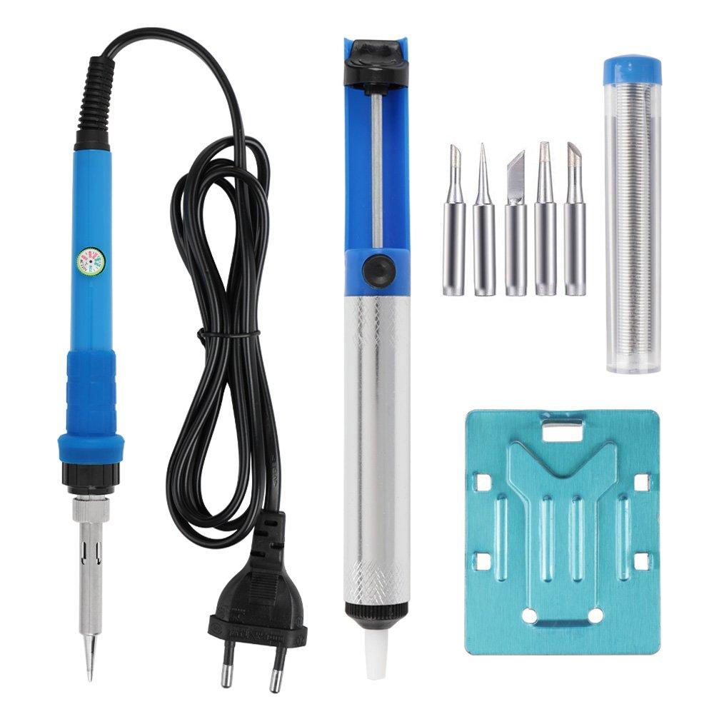 estaci/ón de soldadura y 5 puntas Leaning Tech Juego de herramientas con soldador color azul equipo de soldadura