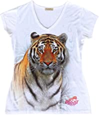 Big Cat Rescue T-Shirt - Swirling Tiger Women's Active Fitted V-Neck Tee Shirt
