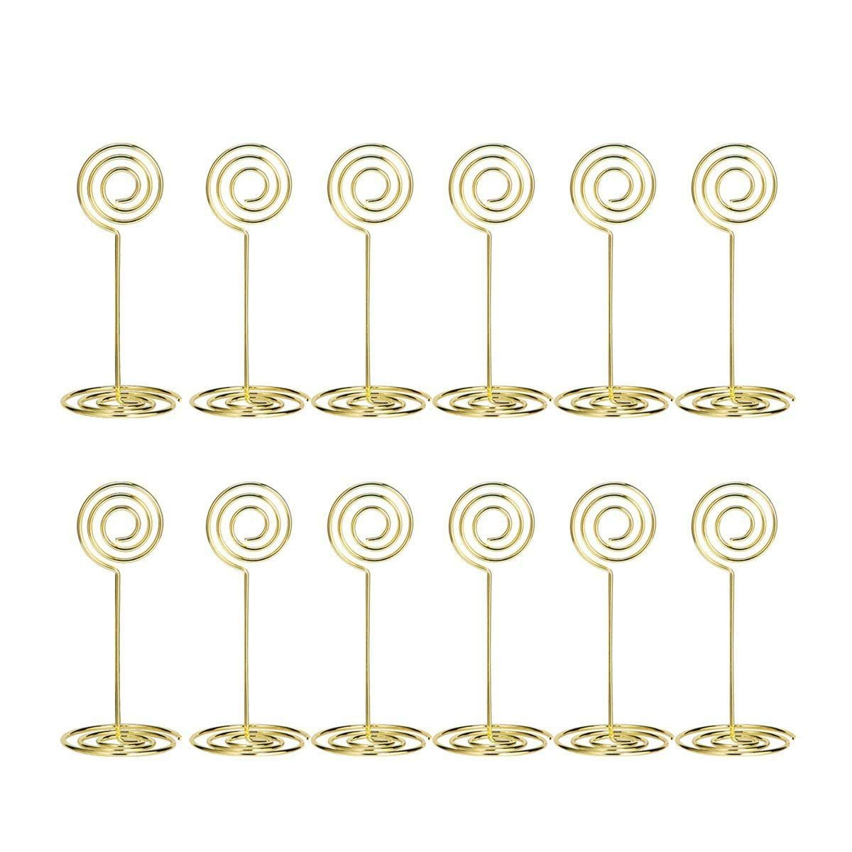 Aieve Table Card Holders - 24 Pack Wire Shape Table Photo Holder Table Number Holder Wire Photo Holders Table Pictures Stand for Place Cards Wedding Party Office Desk Memo Menu Clips (Gold)