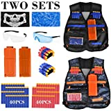 2 Pack Kids Tactical Vest Kit for Nerf Guns N-Strike Elite Series, with 80 Pcs Refill Darts, 2 Reload Clips, 2 Face Tube Masks, 2 Hand Wrist Bands and 2 Protective Glasses
