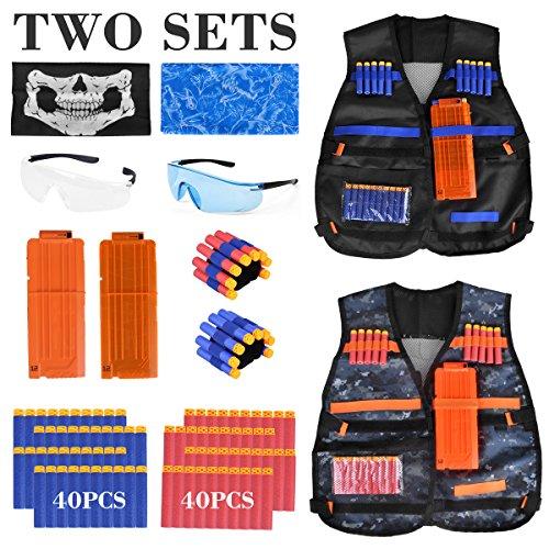 Kids Tactical Vest - 2Pack Adjustable Tactical Jacket Vest Kit for Nerf Guns N-Strike Elite Series Toys with 80Dart Bullets, 2Boys Tactical Vests, 2Reload Clip, 2Face Mask, 2Wrist Band&2Safety Glasses - Hurricanes Kids Accessories