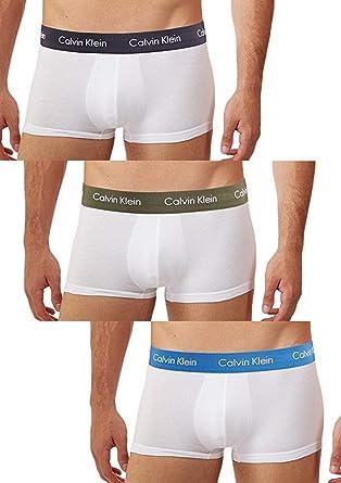 c0591eba83a2 Amazon.com: Calvin Klein Men's, Underwear Low Rise Trunks, 3 Pack Cotton  Stretch, White/Hunter/Carbon Blue/Urban Blue, X-Large: Clothing