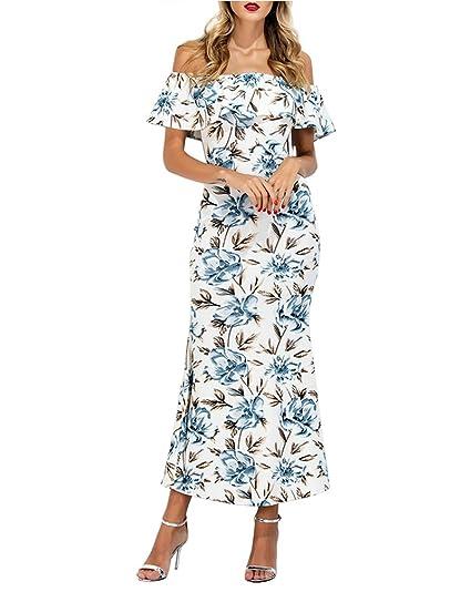 Vestidos Mujer Verano Elegantes Vintage Estampados Flores Vestidos De Fiesta Niñas Ropa Largos De Noche Hombros Descubiertos Volantes Slim Vestido Coctel ...