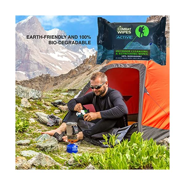 Combat-Wipes-ACTIVE-Outdoor-Wet-Wipes-Extra-Thick-Ultralight-Biodegradable-Body-Hand-CleansingRefreshing-Cloths-for-Camping-Travel-Gym-Backpacking-w-Natural-Aloe-Vitamin-E-25-Wipes-6
