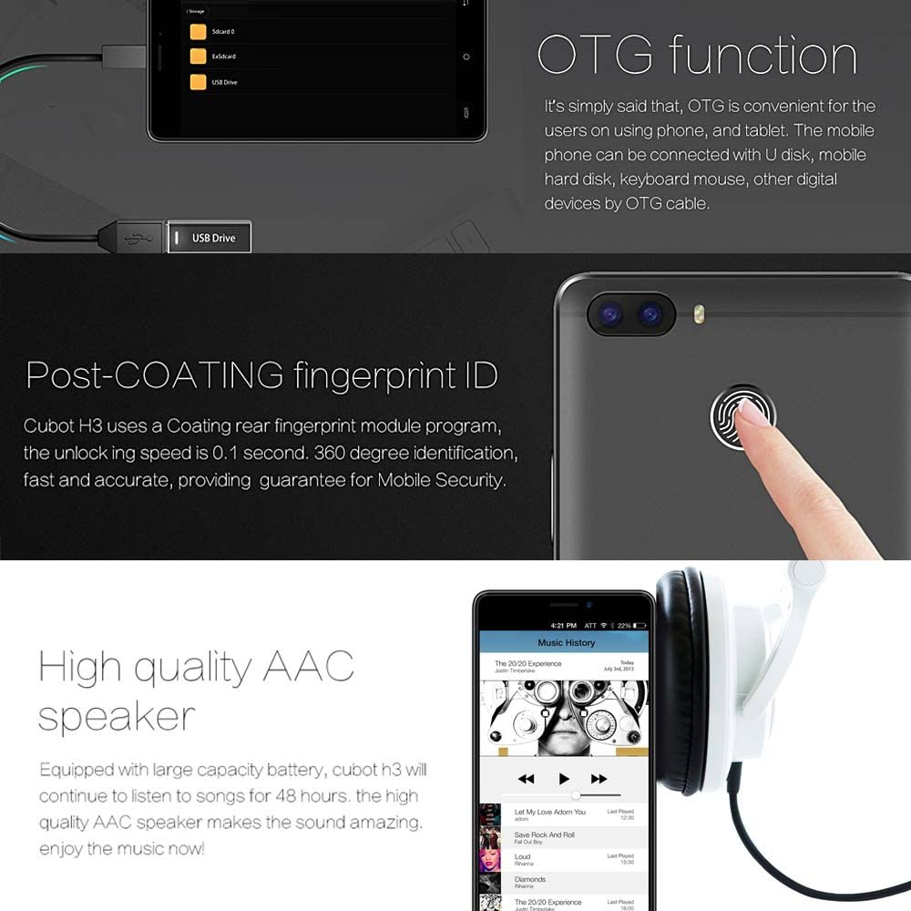 Cubot H3 Smartphone Android 7.0 3GB RAM 32GB ROM Batería 6000mAh ...