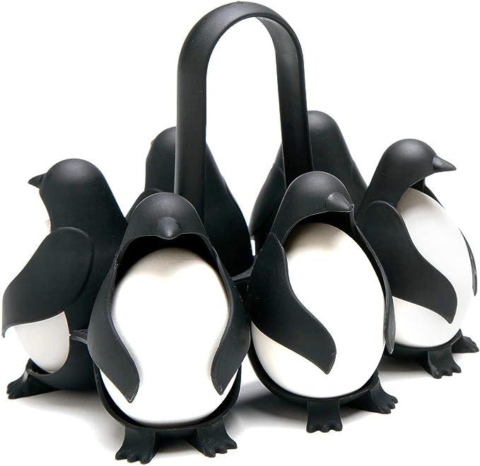 Cuiseur /À /Œufs En Forme De Pingouin Btrice 6 Compartiments Support Multifonction Pour Cuiseur /À /Œufs Avec Poign/ée R/ésistante /À La Chaleur Pour Le Stockage Du R/éfrig/érateur Ustensile De Cuiss