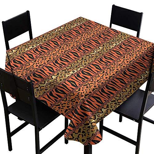 Round Tablecloth Plastic African,Leopard and Cheetah Skin Savannah Pattern Safari Fauna Primitive Artwork,Sephia Orange Amber D36,Tablecloths for Sale