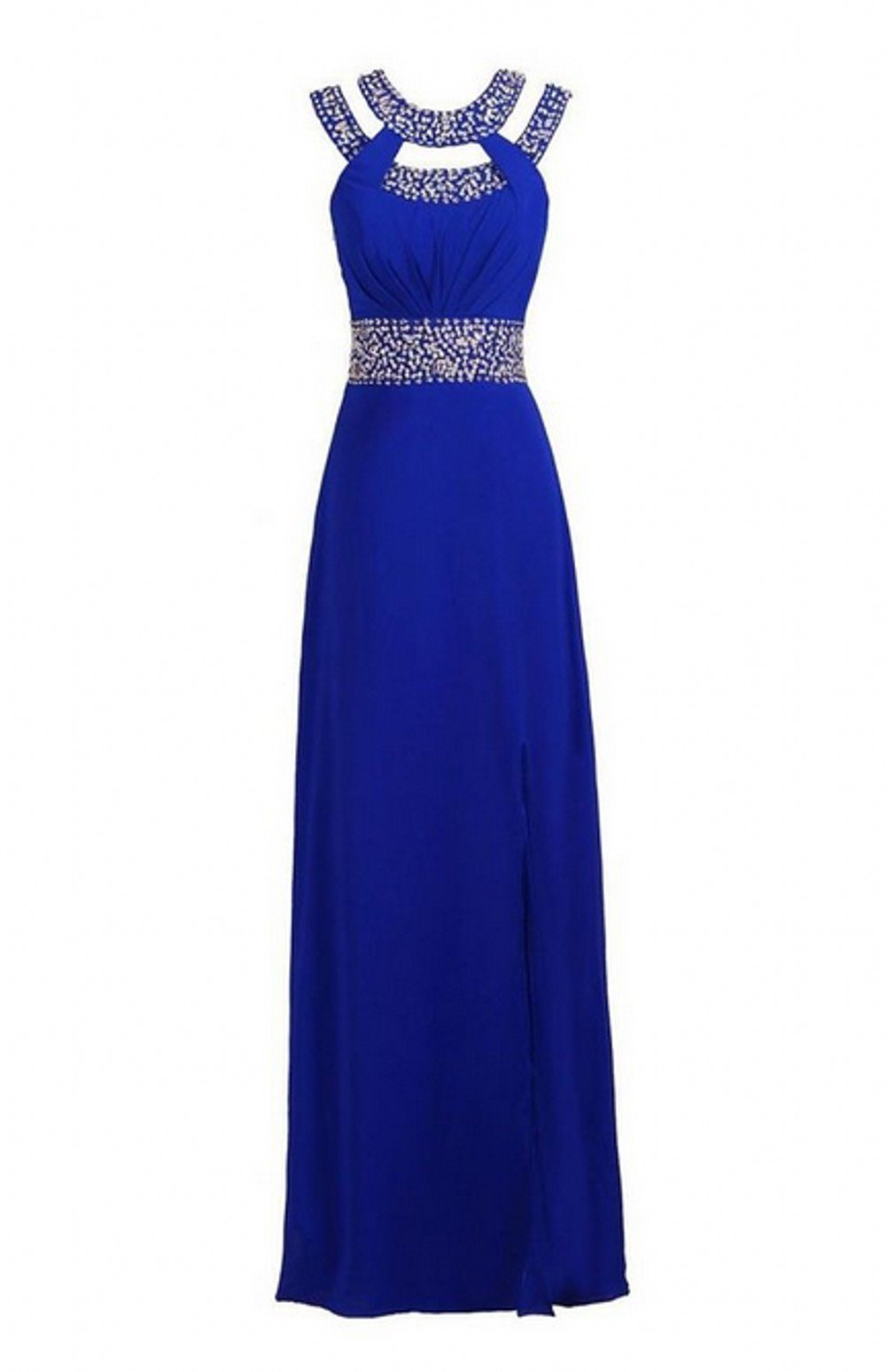 Love Dress Beaded Bridesmaid Evening Party Prom Chiffon Gown Dress Blue Us 16
