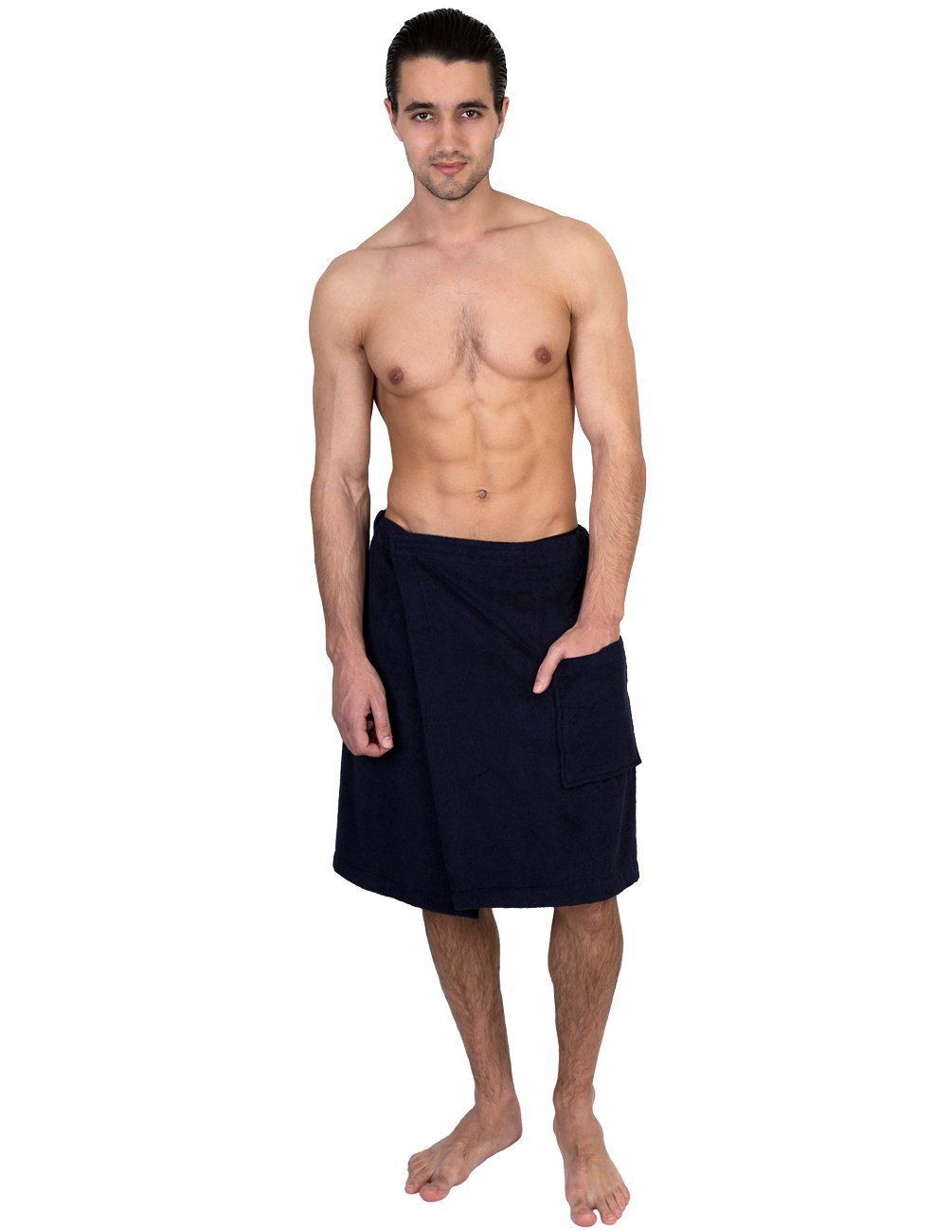 TowelSelections Men's Wrap, Shower & Bath, Terry Spa Towel Large/X-Large Navy