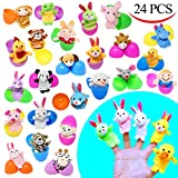 "24 Pieces 2 3/8"" Finger Puppet Easter Eggs for Easter Theme Party Favor, Easter Eggs Hunt, Basket Stuffers Fillers, Classroom Prize Supplies by Joyin Toy"