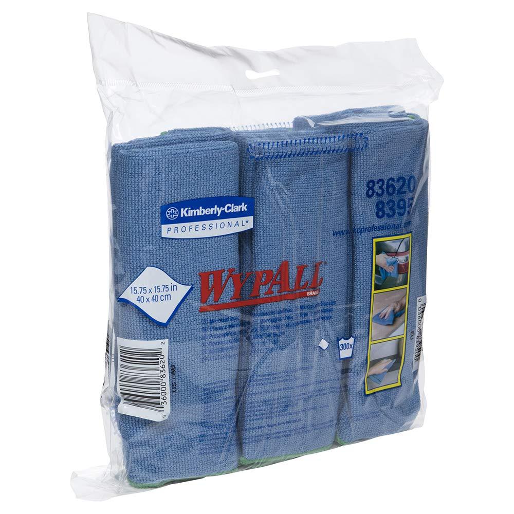 WypAll 83620CT Microfiber Cloths, Reusable, 15 3/4 x 15 3/4, Blue (Case of 24)