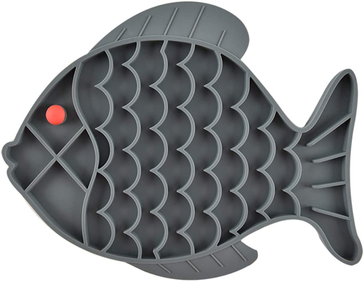 Fish-Shaped Cat Slow Feeder Pet Lick Mat Cat Puzzle Feeder for Dogs & Cats, Fun Alternative to Slow Feeder Cat Bowl, IQ Treat Mat, Anxiety Relief
