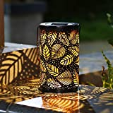 TAKE ME Solar Lantern Lights Outdoor,Garden Hanging Lights Metal Leaf Pattern Lights Lamp for Patio,Outside Or Table (Leaf.)